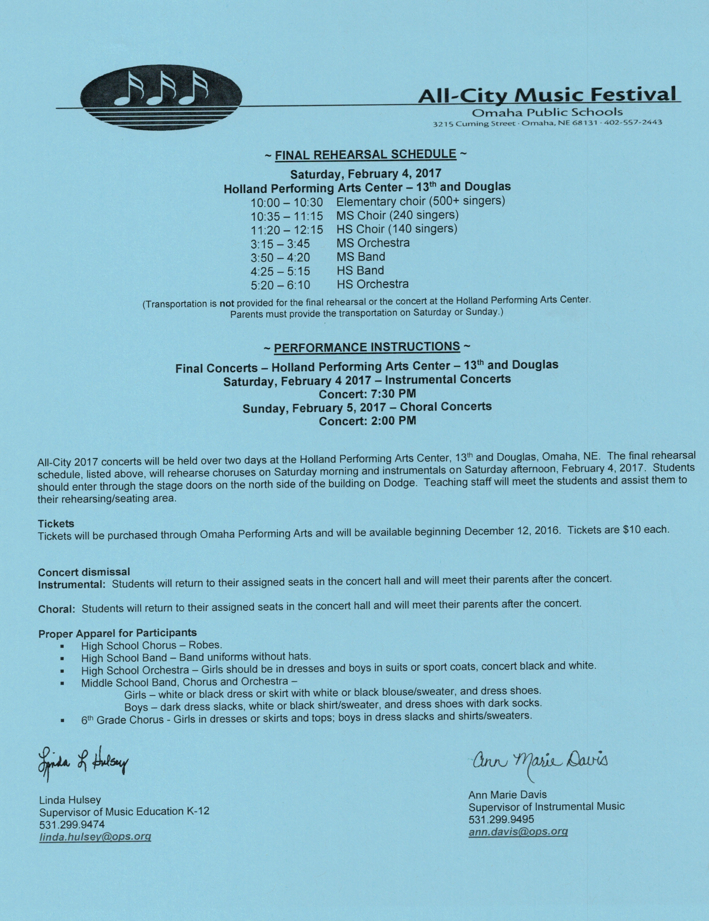 All City Final Rehearsal And Concert Information Omaha Burke High